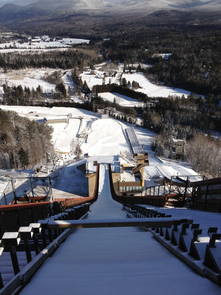 How crazy is this picture?   This is the same view ski jumpers have before they start.  The scary part, is that the ramp extended up about another 30 feet.