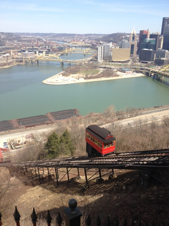Duquense Incline in motion.  Notice the awesome views of downtown in the distance.