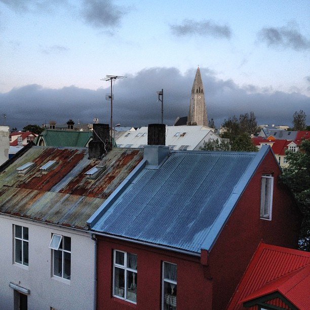 View of Reykjavik from the Backpacker's 4th floor kitchen.