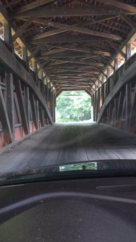 Crossing one of Lancaster County's many covered bridges near Pequae.
