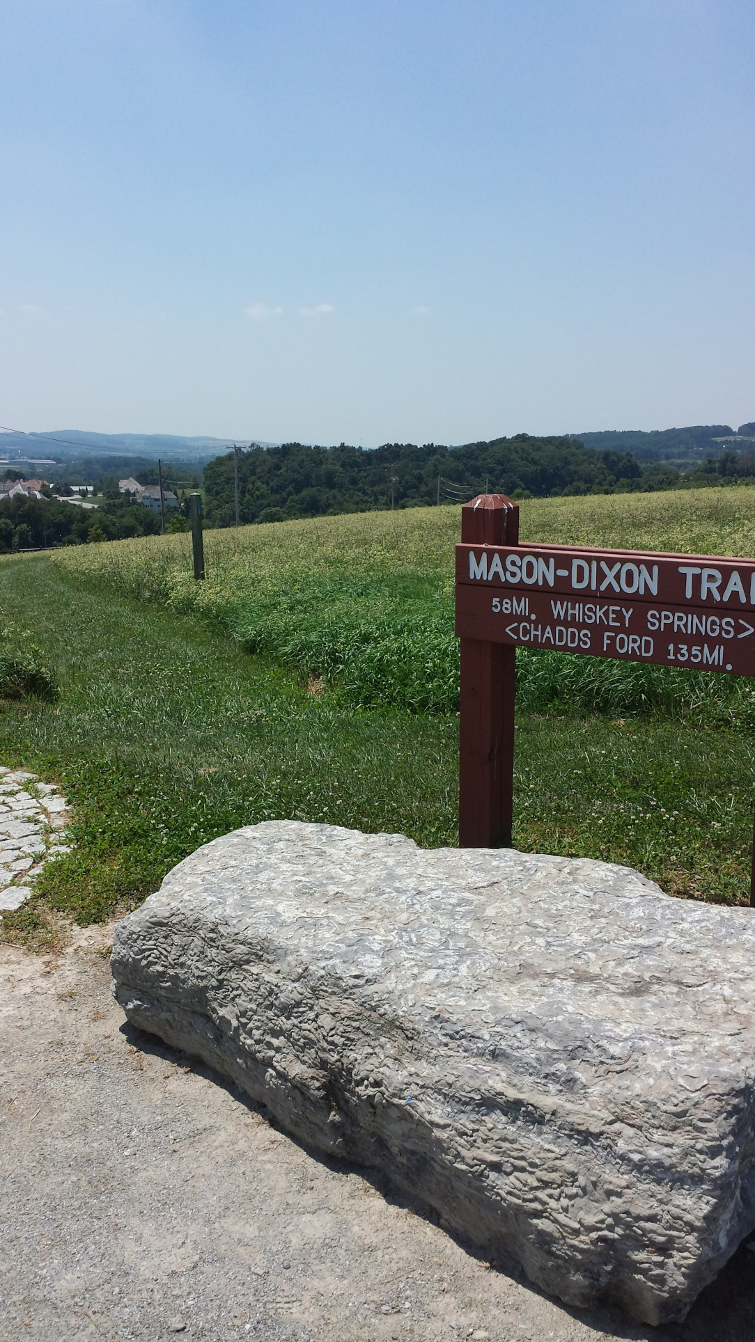 The Mason Dixon trail runs through this park.  As you could see by this sign, it's a long haul.  I personally wouldn't want to go from York County to Chadd's Ford on foot.