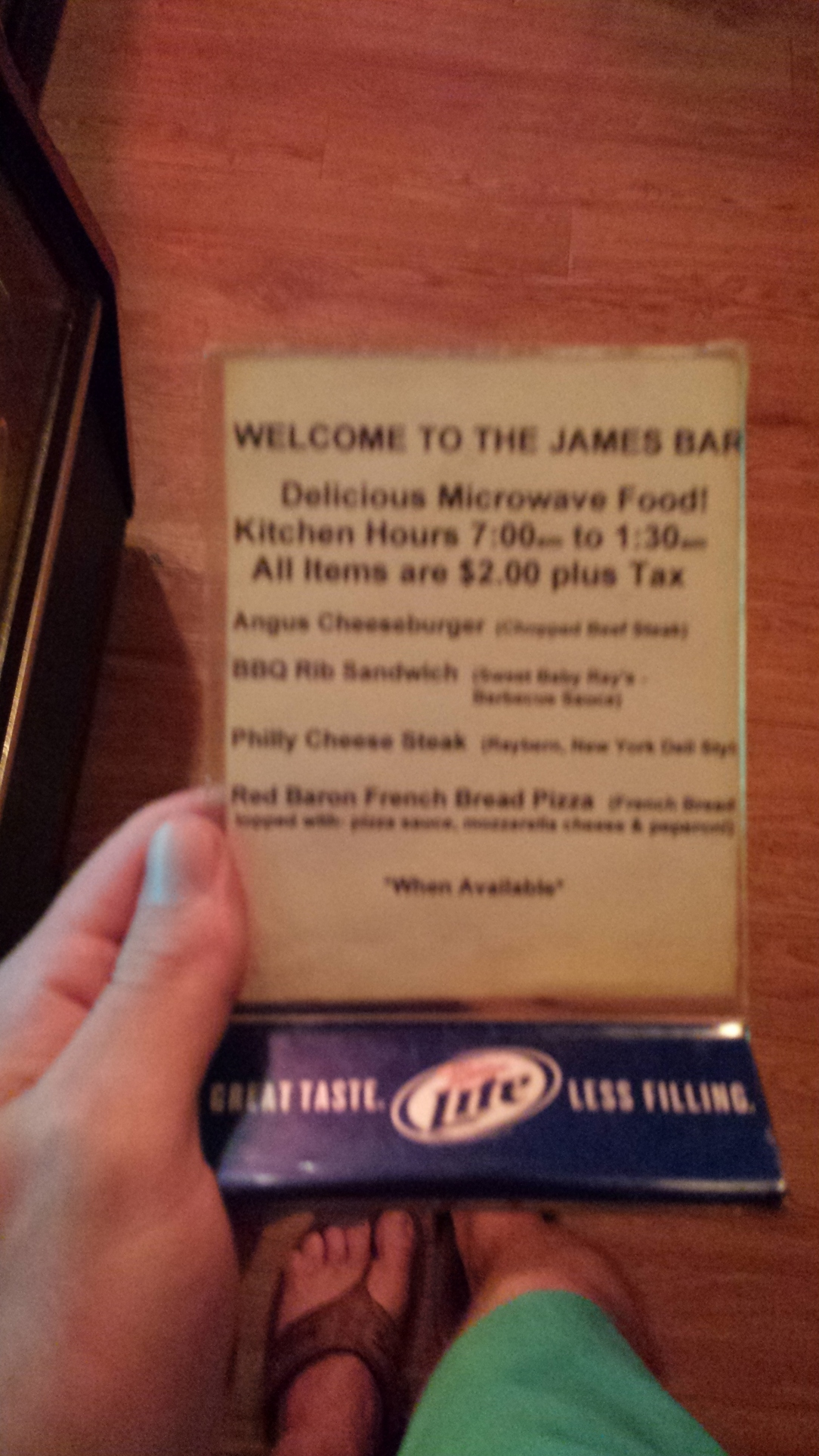 """You know you're in good hands when a bar offers """"microwaved"""" meals."""