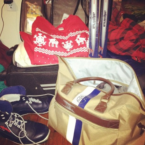 This was me packing for Christmas vacation last year, ugly sweaters and XC skis, and yes I did use an Instagram filter to make this more nostalgic than the lighting in my bedroom allows.