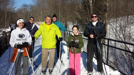 XC Skiing with my dad, cousin, uncle and some family friends (and my mom who's behind the camera).