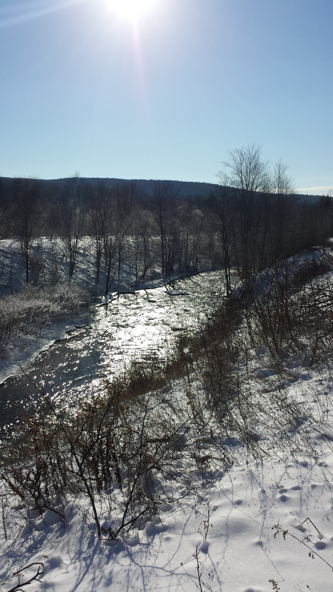 How pretty is that? A shot of the Lackawanna River I took on my solo Sunday morning ski.