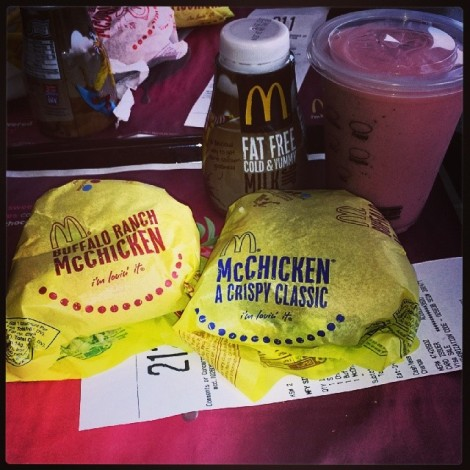 """This is the type of food I get excited over. That's sort of a lie, I actually loathe fast food, with the exception of the McChicken which is God's food. I was excited that they came out with a buffalo ranch version, but it was a let down. There's a reason the original is a """"crispy classic."""""""