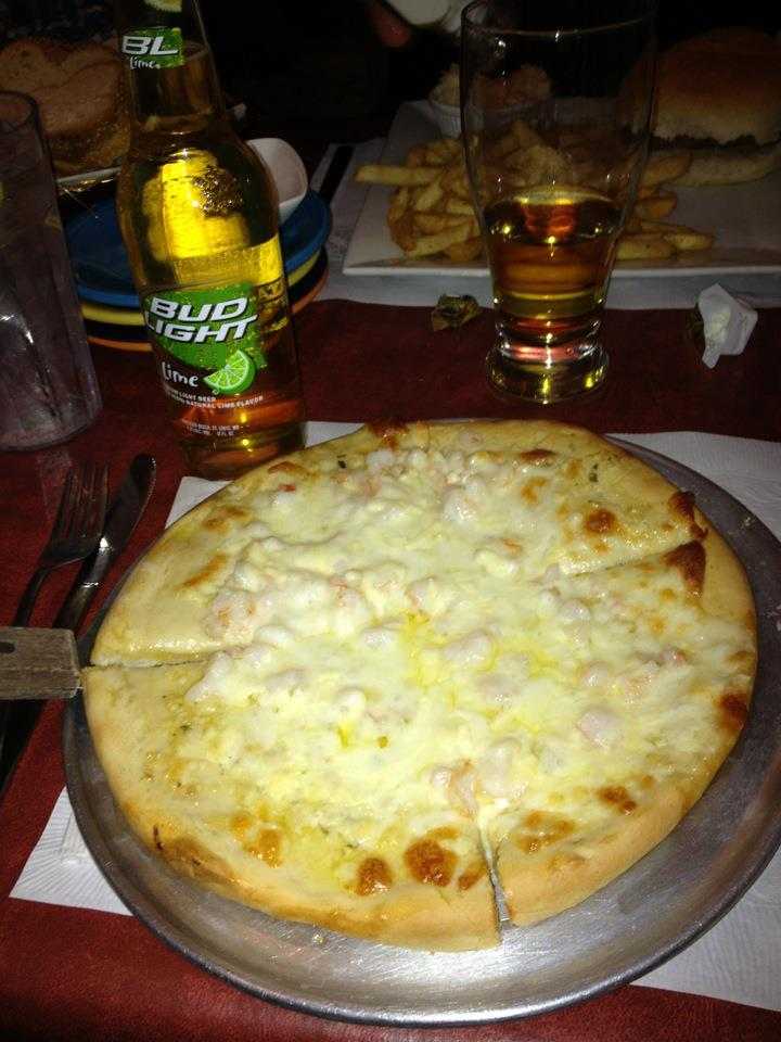 A traditional NEPA Lenten meal at Franks...white shrimp and garlic pizza with a side of Bud Light Lime. Don't judge my classiness.