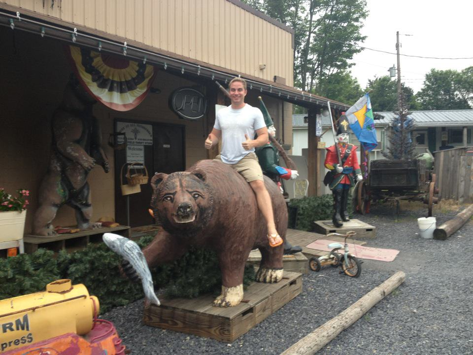 I'm not sure this if this was taken on Route 30 or not but it was taken on a state road in Central PA during a trip to Gettysburg two years ago. There was just a store on the side of the road selling large plastic animals like you'd see at a mini-golf course. See, weird.