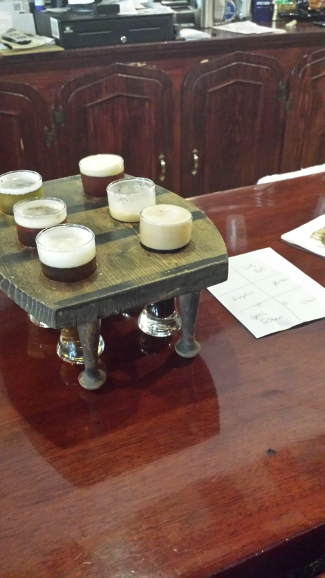 A sampler at the Union Barrel Works. My favorite beer was called Wobbly Bob. I'm not sure whether or not I actually liked the taste or just saw the name and decided it'd be my favorite.