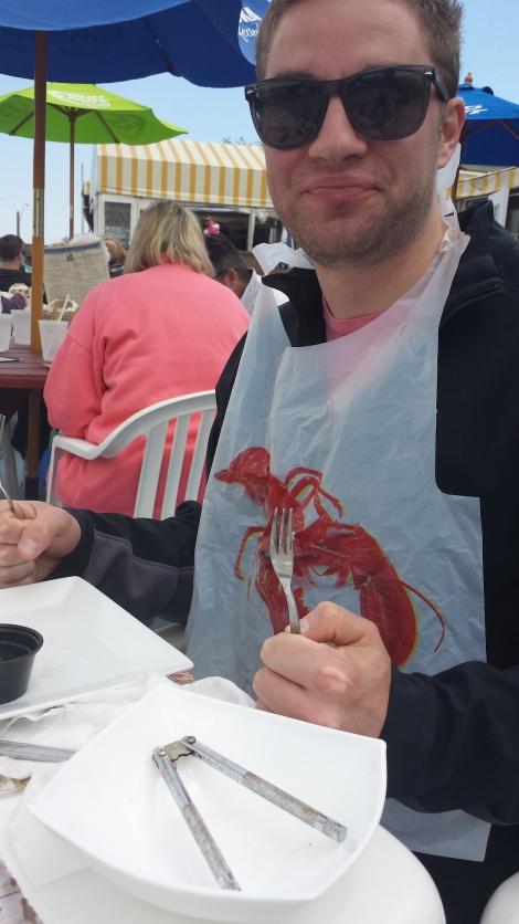 When one receives a lobster bib, one wears a lobster bib.