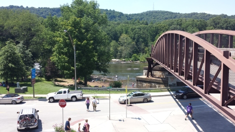 The beginning of the Great Allegheny Passage in downtown Ohiopyle (the bridge).