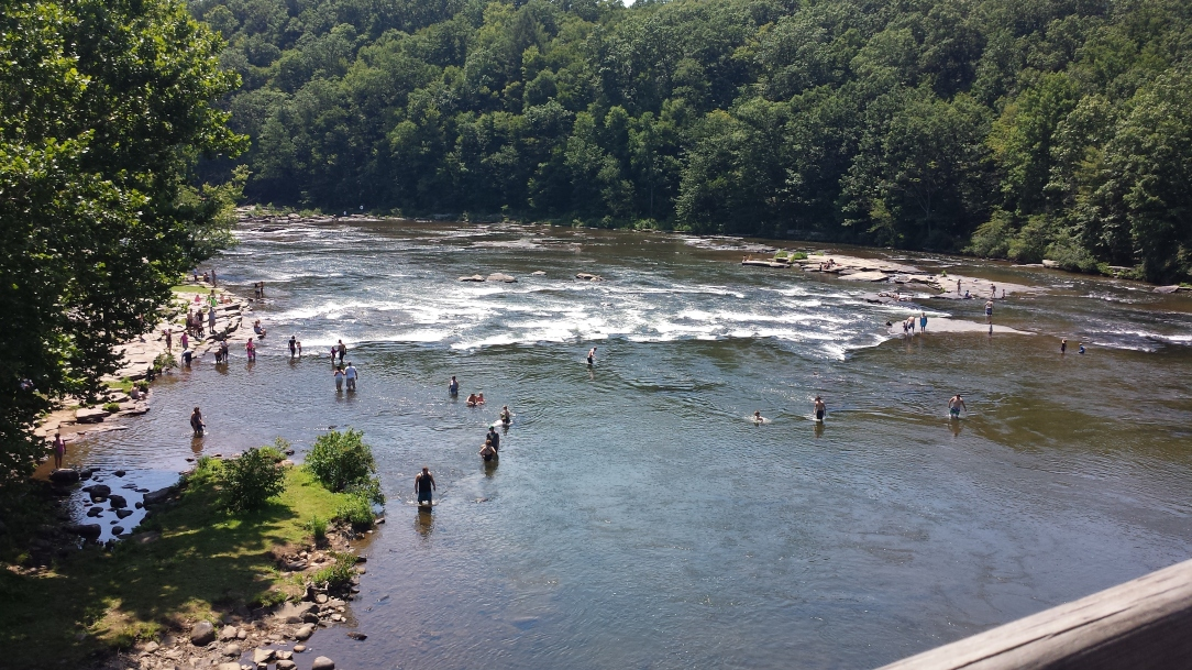People hanging out in the Youghiogheny right in Ohiopyle (the town).