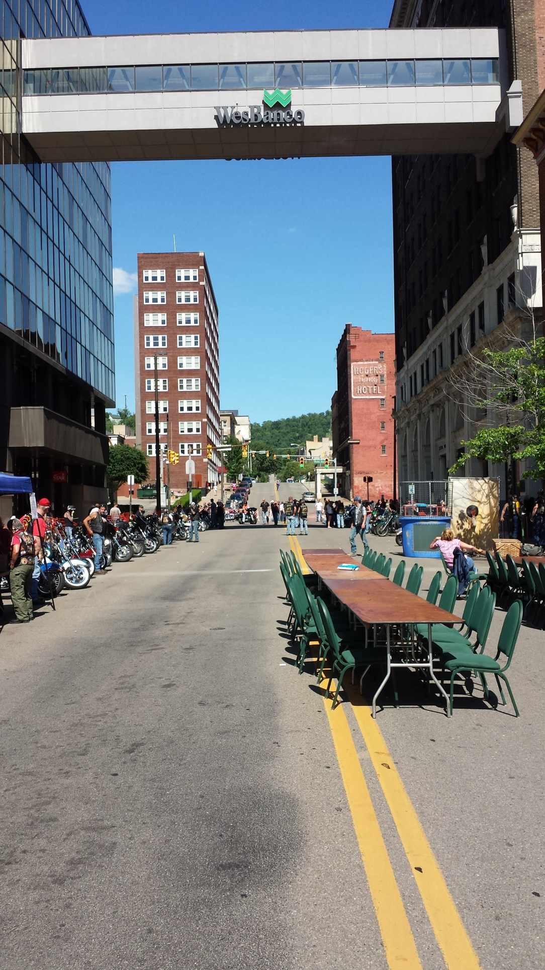 Downtown Wheeling. There was also a motorcycle rally, separate from the chili cook off I'll be chatting about a few paragraphs down.
