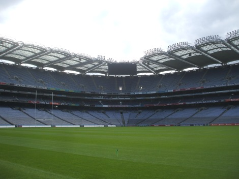 "A view of Croke Park from ""the pitch."""