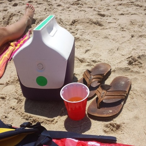 """Enjoying some liquid courage before heading down to """"that part"""" of the beach."""