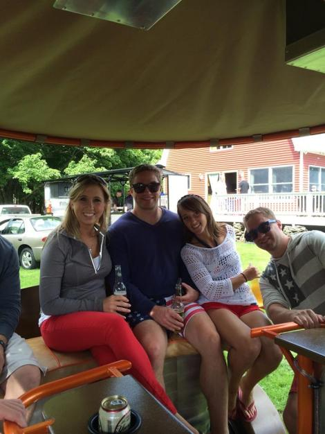 """Hanging out on the now christened """"NEPA Party Bike"""" during one if its inaugural runs this past 4th of July."""
