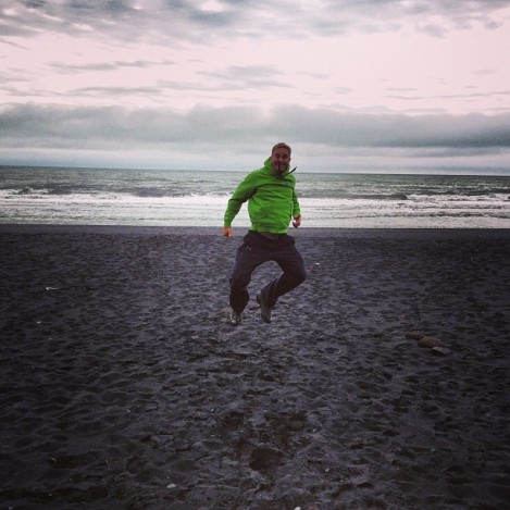 I wasn't lying: we did actually frolic on the black sand beach.