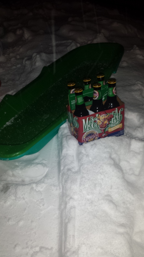 Sledding and drinking some Mad Elf over Thanksgiving-the exercise was obviously walking back up the hill.