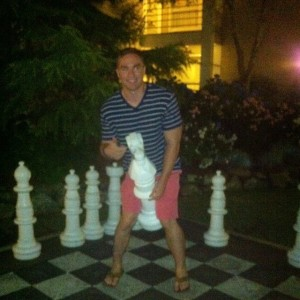 The hotel chess set. In other news, I have way too many pictures at night where I look like a wild animal.