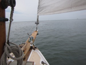 A view from the bow of the cat boat.