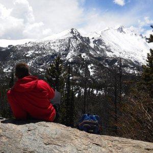 Admiring the Rockies.