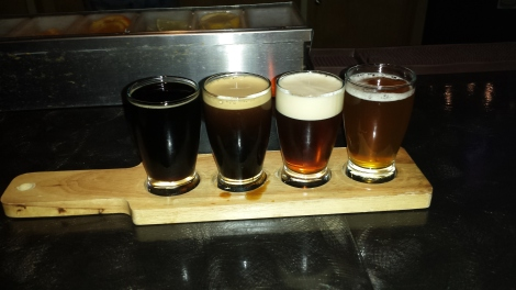 A flight at Galaxy Brewing Company.