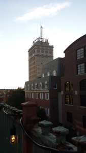 A view of downtown Lancaster from the rooftop bar at Tellus 360.