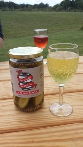 Cider and a pickles, a classic pairing.
