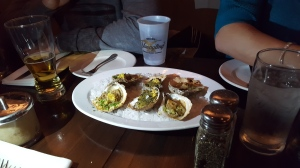 A roasted oyster sampler.