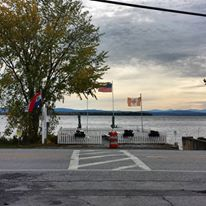 A patriotic morning on the shores of Lake Champlain.